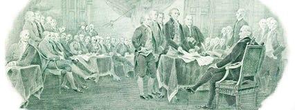 Unabhängigkeitserklärung vom U S Zwei Dollarschein Stockfotografie