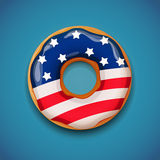 Unabhängigkeitstag - Donut mit Flagge von USA Stockfoto