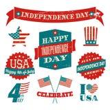 Unabhängigkeitstag-Gestaltungselement-Sammlung Stockbilder
