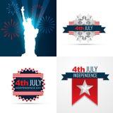 4. Unabhängigkeitstag-Hintergrundsatzes Julis des amerikanischen lizenzfreie abbildung