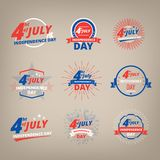 Unabhängigkeitstag Juli 4., USA Die Logounabhängigkeitstag Vereinigten Staaten von Amerika Lizenzfreie Stockfotos