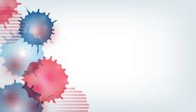 Unabhängigkeitstag USA-Feierfahnenschablone mit abstraktem Aquarellspritzen-Dekorhintergrund in der amerikanischen Flagge - rot u vektor abbildung