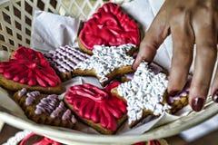 Unabhängigkeitstag, USA, süßes Buffet des Kekskuchens geschmackvoll lizenzfreies stockfoto