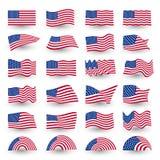 Unabhängigkeitstagflaggensatz gewellte Form amerikanischen Symbols Vereinigter Staaten Vektorlogo Julis vierter, Illustration Lizenzfreies Stockbild