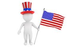 Unabhängigkeitstagkonzept. kleine Person 3d mit amerikanischer Flagge und Stockfotos