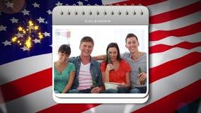Unabhängigkeitstagmontage mit Kalendereinleitung stock video