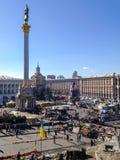 Unabh?ngigkeits-Quadrat Maidan Nezalezhnosti w?hrend der Zeiten von Euromaidan - eine Welle von Demonstrationen und von sozialen  lizenzfreie stockfotos