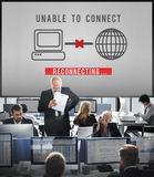 Unable Connect Disconnect Error Failure Problem Concept. Unable Connect Disconnect Error Failure Problem royalty free stock images