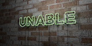 UNABLE - Glowing Neon Sign on stonework wall - 3D rendered royalty free stock illustration Stock Image