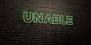 UNABLE -Realistic Neon Sign on Brick Wall background - 3D rendered royalty free stock image Royalty Free Stock Image