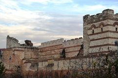 Unable to resist the conquest of Istanbul Byzantine walls. The walls had traces of thousands of warriors royalty free stock photo