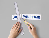 Unacceptable Unwelcome Hand Cut Word Split Concept Royalty Free Stock Images