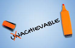 Unachievable ord Arkivfoton