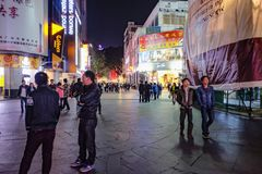 Unacquainted Chinese People walking in `beijing road ` the famous walking street in guangzhou city china royalty free stock image