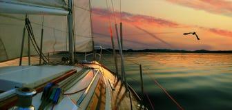 Sailing at Sunset. Royalty Free Stock Photos