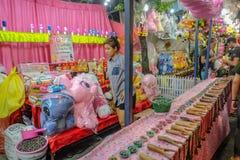 Unacquainted Thailand people or tourist Playing thai Local Street Shooting Game in `Loi Krathong ` Temple Fair of Wat Saket Temple royalty free stock photo
