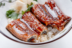 Unadon Japanese Rice Bowl Topping with Grilled Japanese Freshwater Eel with Teriyaki Sauce Served with Prickled Ginger royalty free stock photos