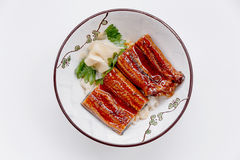Free Unadon Japanese Rice Bowl Topping With Grilled Japanese Freshwater Eel With Teriyaki Sauce Served With Prickled Ginger Stock Images - 84528064