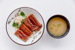 Free Unadon Japanese Rice Bowl Topping With Grilled Japanese Freshwater Eel With Teriyaki Sauce Served With Prickled Ginger Royalty Free Stock Photos - 84528098