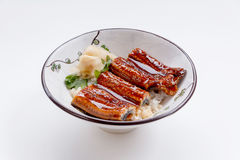 Free Unadon Japanese Rice Bowl Topping With Grilled Japanese Freshwater Eel With Teriyaki Sauce Served With Prickled Ginger Royalty Free Stock Photos - 84528438