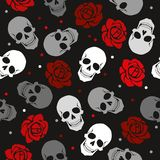 The unadorned pattern of the skull and roses stock illustration