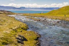 Unadsdalur village - Iceland, Westfjords. Stock Image