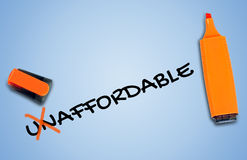 Unaffordable word Royalty Free Stock Photo