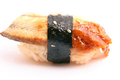 Unagi. Eel and rice on white with shadow Stock Images