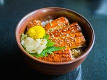 Unagi Don Grilled Eel Rice Bowl. Japanese food dish with decoration Stock Photos