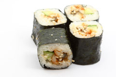 Unagi maki. Four unagi maki on white with shadow Stock Images