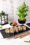 Unagi roll with smoked eel, avocado, cream with Philadelphia cheese. Sushi menu. stock photography