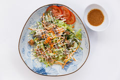 Unagi Salad include Unagi, Tomato, Cucumber, Carrot and Green Salad Leaves that Topping with Mayonnaise and Ebiko Stock Photography