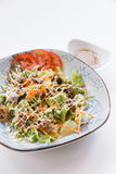 Unagi Salad include Unagi, Tomato, Cucumber, Carrot and Green Salad Leaves that Topping with Mayonnaise and Ebiko Stock Images