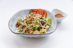Unagi Salad include Unagi, Tomato, Cucumber, Carrot and Green Salad Leaves that Topping with Mayonnaise and Ebiko Stock Photo