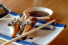 Unagi smoked eel sushi rolls Stock Photos