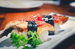 Unagi-Sushi-gesetzter Japan-Aal, Sushijapan-Lebensmittelart Lizenzfreies Stockfoto