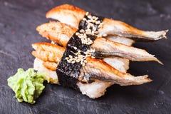 Unagi-Sushi mit Aal Stockfotografie