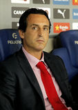 Unai Emery Sevilla FC manager. During spanish league match against Espanyol at the Estadi Cornella on August 30, 2014 in Barcelona, Spain Stock Images