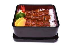Unaju, Unagi ziehen an oder grillten Aal auf dem Reis, lokalisiert auf weißem BAC Lizenzfreie Stockfotos
