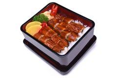 Unaju, Unagi ziehen an oder grillten Aal auf dem Reis, lokalisiert auf weißem BAC Lizenzfreies Stockfoto