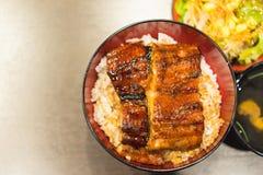 Unaju, weißer Reis überstieg mit gegrilltem Aal Stockbild