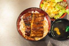 Unaju, weißer Reis überstieg mit gegrilltem Aal Lizenzfreie Stockfotos