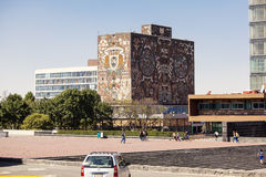 UNAM University Library. Mexico City, Mexico - May, 30 2012: Central University Campus of the Mexico National Autonomous University, a UNESCO World Heritage Site royalty free stock photo