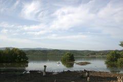 Unare lagoon coastal wetland in Venezuela. View of wetlands and mountains of Unare Lagoon Ramsar site in Anzoategui Venezuela stock images