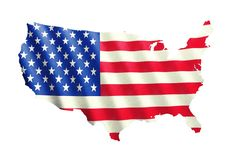 Unated stated of America Flag isolated on white Royalty Free Stock Images