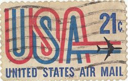 Unated states air mail. American postage stamp `Unated states air mail royalty free stock photo