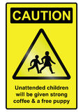 Unattended Children Hazard Sign Stock Image