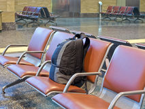 Unattended luggage. In the airport waiting area stock photo