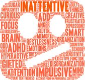 Unaufmerksame ADHD-Wort-Wolke Stockfoto