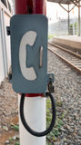 Unavailable of emergency telephone. At train station Royalty Free Stock Photography